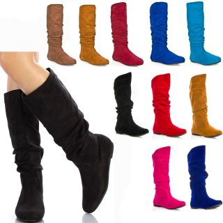 Womens Shoes Slouchy Knee High Suede Flat Boots Size 5.5 6 6.5 7 7.5 8