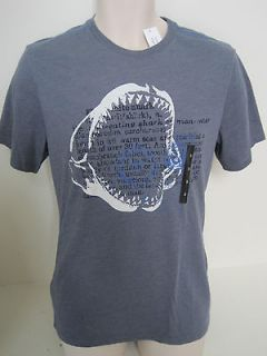 BANANA REPUBLIC Mens Blue Great White Shark Graphic T shirt S & M NWT