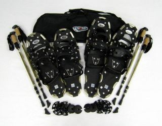 ELITE SNOWSHOE BUNDLE 22 IN & 27 IN w POLES, FREE BAG,