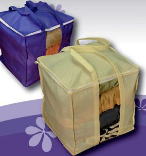 Purple 2 Handles Underbed Clothes Storage Bag Quilt Container.0