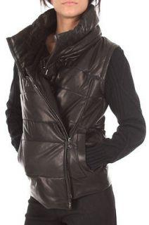 Neil Barrett NEW Woman Leather Short Jacket NPE107 BLACK Wool Sleeves