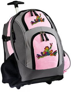 CUTE Peace Frog Rolling Backpack Wheeled Bag BEST Travel School Bag