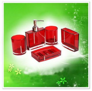5pcs bathroom accessories set red for shower curtain soap dish