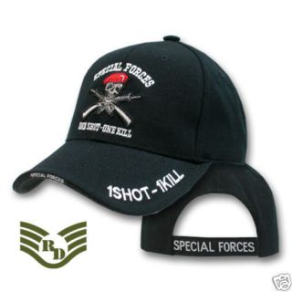 BLACK UNITED STATES ARMY SPECIAL FORCES CAP HATS 1 SHOT