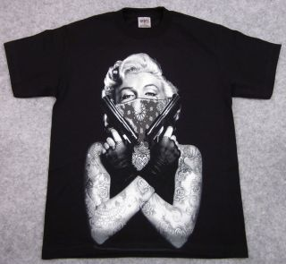 MONROE T shirt Tattoo Bandit Tee Guns Bandana Adult M,L,XL,2XL,3XL,4XL