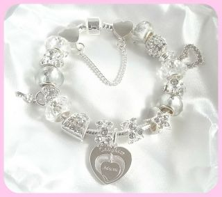 NEW SPARKLING SILVER CHARM BRACELET MUM & DAUGHTER GIFT/BOXED 16TH
