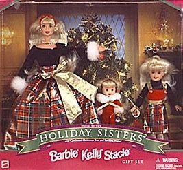 Kelly Stacie Barbie Doll Holiday Sisters Christmas 1998 NIB Gift Set