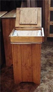 Wood Trash Bin Pet Food Hamper Lift Top Handcrafted