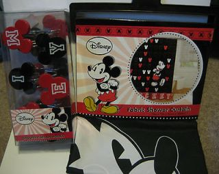 Disney MICKEY MOUSE Shower Curtain & Hooks nip