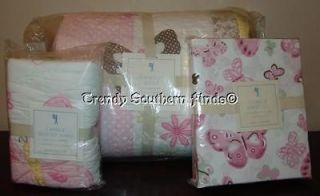 5P Pottery Barn Kids CAMILLE Butterfly Quilt Sheets STANDARD Sham TWIN