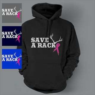 Save a Rack BREAST Cancer pink ribbon awareness Hoodie