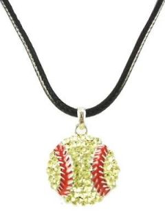 Crystal * Bling * Softball Pendant Necklace New