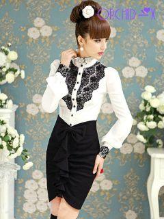 Luxury Brand Black Lace Tops Vintage Ruffles Puff Sleeve Women White