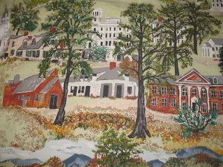 VTG GRANDMA MOSES SCENIC WILLIAMSTOWN COTTON BARKCLOTH ERA DECOR
