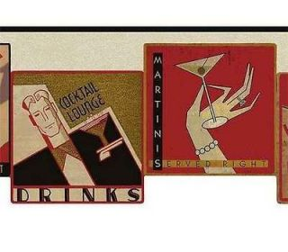 Cocktail Wine Martini Jazz Bar Wallpaper Border by York