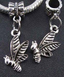 65pcs Tibetan Silver Bee Beads Fit Charm Bracelet f#41