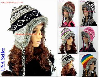 100% Wool Hi Quality knit Hat Winter Ski Cap Warm Ear Flap Beanies Fur