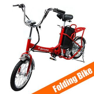 Electric Bicycle Unisex Folding Battery Operated Motor Bike Red by e