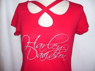 NWT   Large Harley Davidson Womans Red Script Crossover Cut Out Shirt