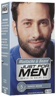 For Men Brush In Color Gel for Mustache & Beard, Darkest Brown   1 Ea