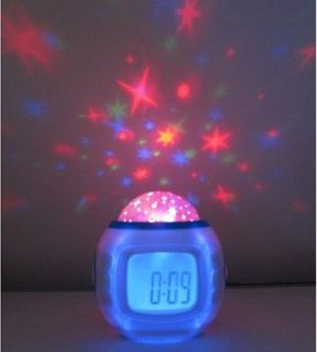 Night Light Projector Lamp Children Room Bedroom Alarm Clock W/music