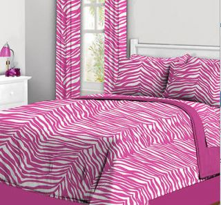 Pink & White ZEBRA Teen Girls TWIN Comforter SHEETS 6PC. BED IN A BAG