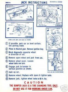 1968 DODGE CORONET/RT/BELVEDERE JACK INSTRUCTION DECAL