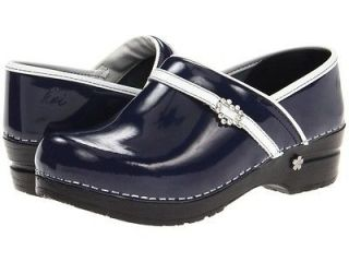 NEW SANITA PROFESSIONAL KOI BELVIDERE NAVY LEATHER CLOGS SHOES SIZE