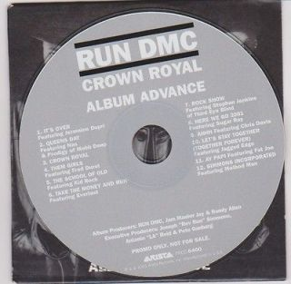 RUN DMC PROMO ADVANCE CD CROWN ROYAL RARE NAS FAT JOE KID ROCK