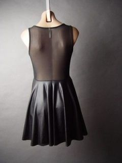 Black Faux Leather Sheer Mesh Back Fit & Flare Skater Skirt LBD