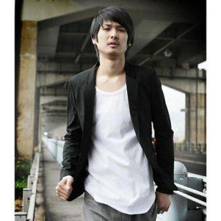 Korean Fashion Mens Casual Slim Fit Suit Sport Coat Blazer Open Front