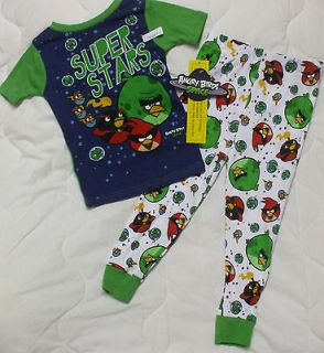 NEW 5 5T Angry Birds Pajamas Shirt Pants Boys Super Stars
