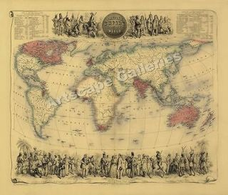 1850 Historic World Map of the British Empire 24x28