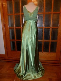 Made USA New Betsy & Adam Party Apple Green shiny Satin dress size 12