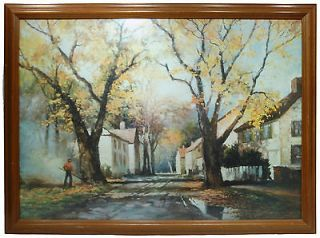 Original PRINT Signed ROBERT WOOD 1953 Painting HIGH QUALITY FRAME