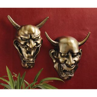 Set of 2: Japanese Hannya Masks Jealous Female Demons Wall Sculpture