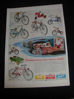 1954 amf print ad pedal car pedal tractor bicycle tow trike nice ad