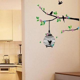 Tree Green Pink Bird Cage Removable Wall Decals Vinyl Decor Sticker
