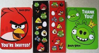 ANGRY BIRDS INVITATIONS AND THANK YOUS PARTY SUPPLIES (BOTH INCLUDED