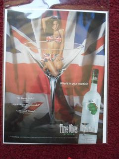 Ad Sexy Girl in Shot Glass Three Olives Vodka British Flag Bikini
