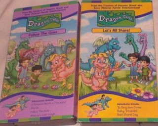 VHS Lot 2 Dragon Tales Follow The Clues Lets All Share Color Animated