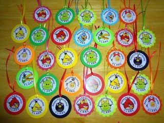 30 ANGRY BIRDS personalized gift tags birthday party favors supply