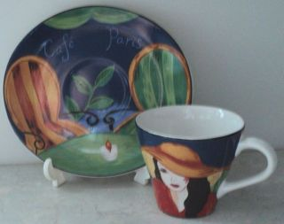 CAFE PARIS CUP & SAUCER Sango Art Tea Cup & Oval Saucer Blue White