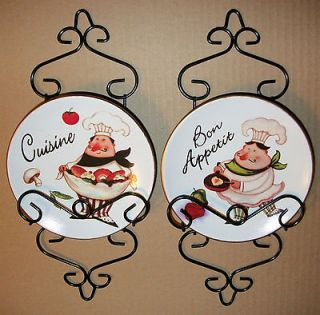 CUTE 5 FAT CHEF ITALIAN BISTRO PLATE WITH RACK WALL HANGING