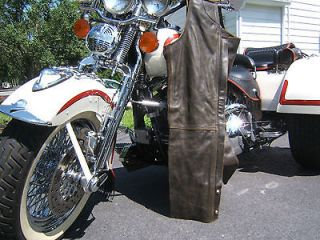 HARLEY DAVIDSON BILLINGS LEATHER CHAPS LARGE SPRINGER FATBOY ROADKING