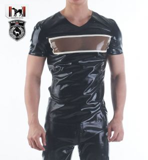Latex Gummi Rubber Top Muscle Transparent Pectorals Window Shirt BLA