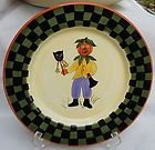BETHANY LOWE HALLOWEEN DINNER PLATE S 10 3/8 PUMPKIN SCARECROW BLACK