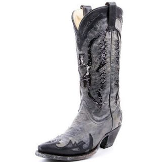 Corral Ladies Black Sequin Eagle Inlay Boots R1003 NIB
