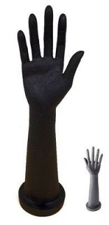 16 BLACK MANNEQUIN HAND ARM DISPLAY w/ BASE female gloves jewelry