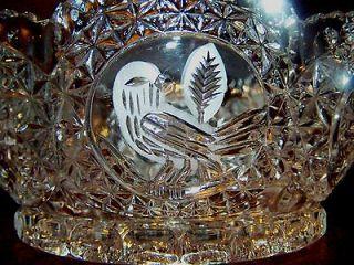 Vint. Hofbauer West Germany BYRDE Bird Cut Clear Crystal Etched Veg